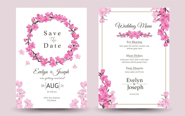 Set of wedding invitation with cherry blossom