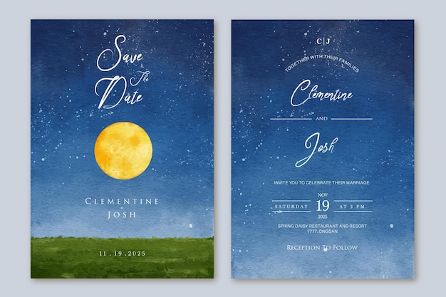 Set of wedding invitation with hand drawn watercolor night sky full moon bakground