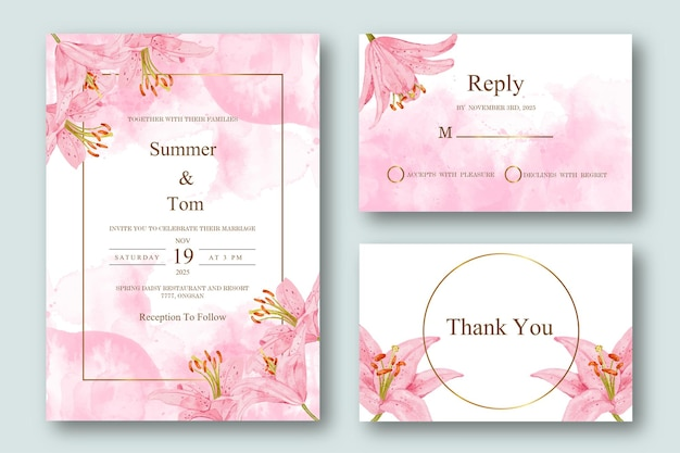 Set of wedding invitation with pink abstract watercolor