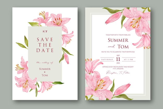 Set of wedding invitation with pink lily flower
