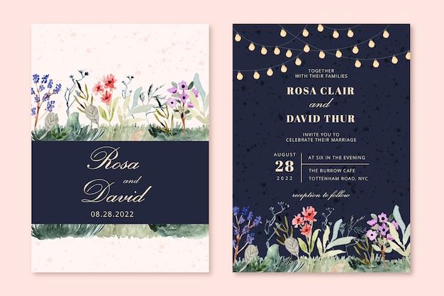 Set of wedding invitation with string light