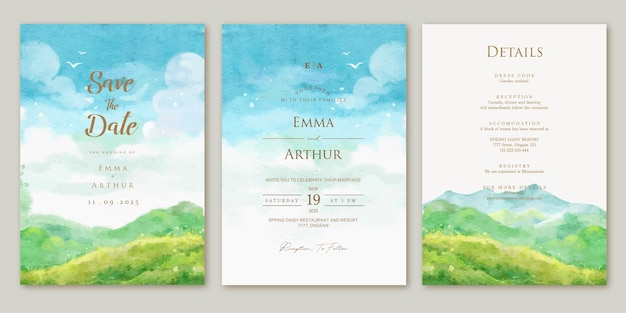 Set of wedding invitation with watercolor aquarelle landscape mountain background