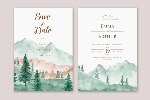 Set of wedding invitation with watercolor mountain landscape background