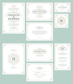Set wedding invitations cards flourishes ornaments.