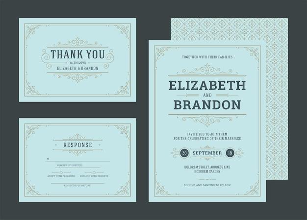 セットの結婚式の招待状は装飾カードを繁栄させます