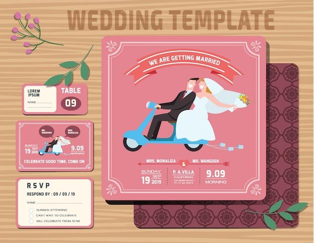 Set of wedding invitations template