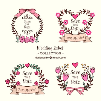 Set of wedding labels with flowers and ornaments