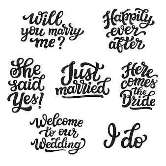 Set of wedding lettering quotes