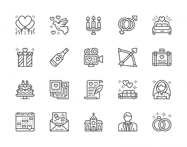 Set of wedding line icons. bridal bed, limousine, bride, bridegroom and more.