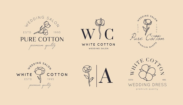 Set wedding logos in minimal trendy style. liner floral labels and badges - vector icon, sticker, stamp, tag with cotton flower for wedding salon and bridal shop dresses