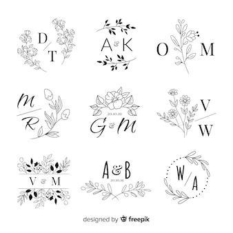 Set of wedding monogram logos