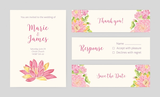 Set of wedding party invitation, save the date card, response and thank you note templates