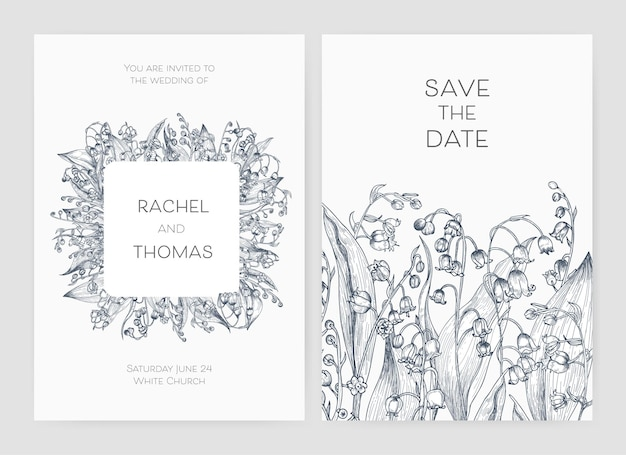 Set of wedding party invitation and save the date card templates with lily of the valley flowers hand drawn