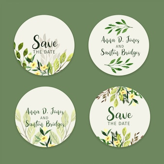 Set of wedding stickers, watercolor greenery labels