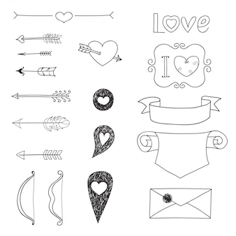 Set wedding and valentine's day doodles