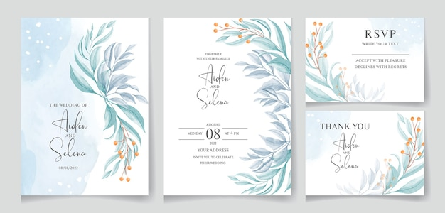 Set of wedding watercolor invitation with blue splash and beautiful leaves