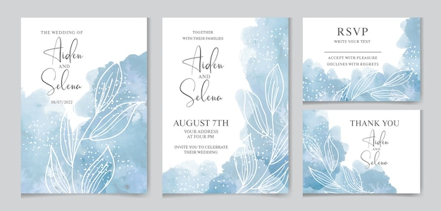 Set of wedding watercolor invitation with blue splash