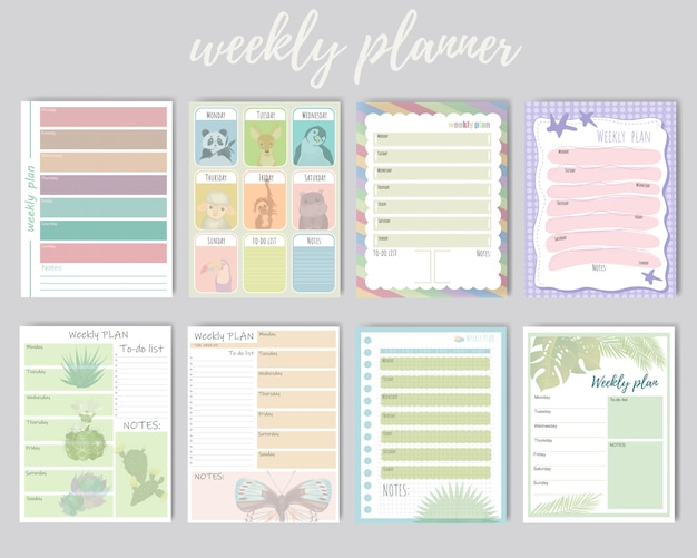 Set of weekly and daily planner. cute weekly background for daily plans, notes