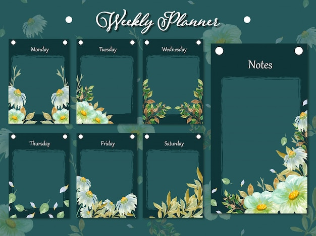 Set of weekly planner collection with wild flowers