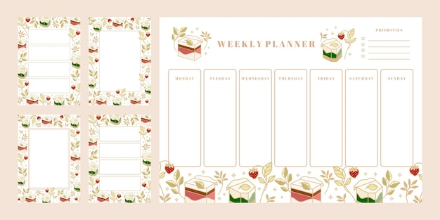Set of weekly planner, daily to do list, notepad templates, school scheduler with hand drawn cake, floral, and strawberry elements