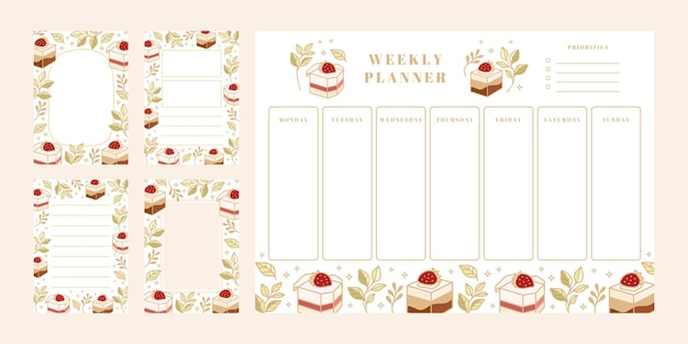 Set of weekly planner, daily to do list, notepad templates, school scheduler