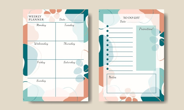 Set of weekly planner to do list abstract pastel shape printable