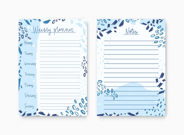 Set of weekly planner and list for notes templates decorated by abstract paint traces and scribble