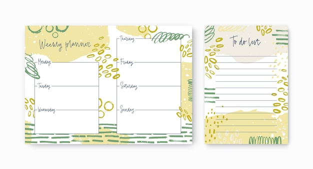 Set of weekly planner and to-do-list templates decorated by vivid paint traces and smears