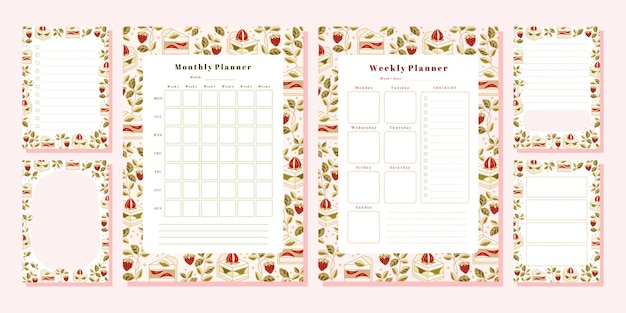 Set of weekly planner, monthly planner, note, memo, school scheduler templates with hand drawn cake, floral, and strawberry elements