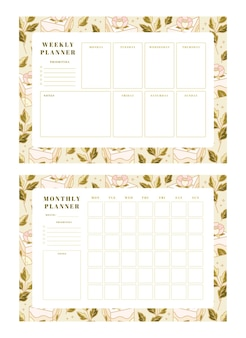 Set of weekly planner, monthly planner, school scheduler templates with hand drawn cake, floral elements