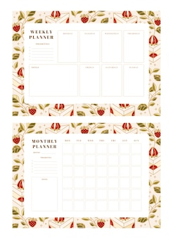 Set of weekly planner, monthly planner, school scheduler templates with hand drawn cake, floral, and strawberry elements