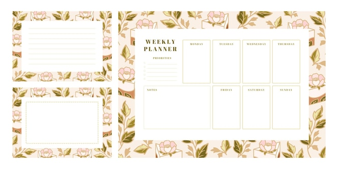 set of weekly planner, school scheduler templates with hand drawn cake, floral elements