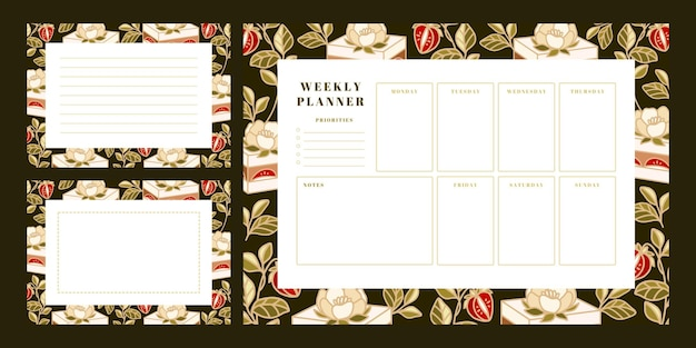 Set of weekly planner, school scheduler templates with hand drawn cake, floral, and strawberry elements