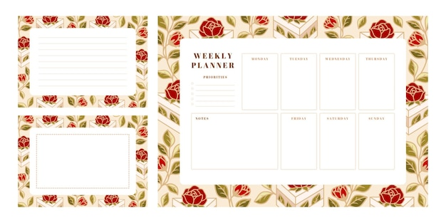 Set of weekly planner, school scheduler templates with hand drawn cake, rose flower elements