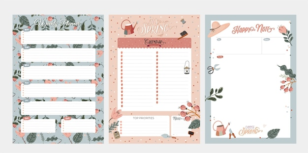 Set of weekly planners and to do lists with cute summer illustrations and trendy lettering.