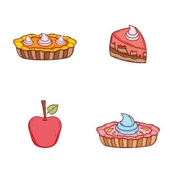 크림과 사과로 cake은 케이크 설정