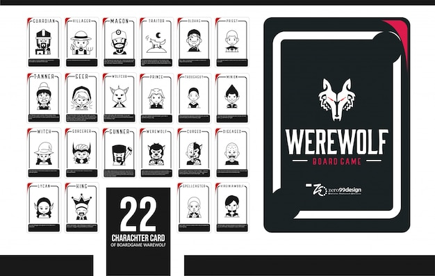 Set werewolf card 20 character for boardgame collection