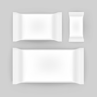 Set of wet wipes napkins blank white packaging package pack  on background