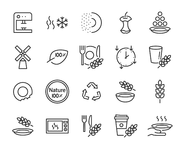 Set of wheat bran tableware icons, such as process