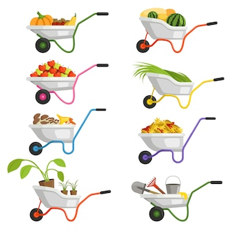 Set of wheelbarrows with different fruits and vegetables