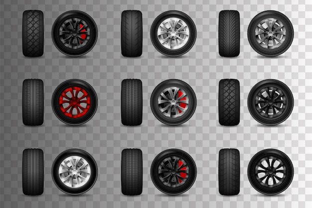 Set of wheels for a car with brake discs. tire shop, tyres change auto service. isolated. transparent objects and opacity masks used for shadows and lights drawing