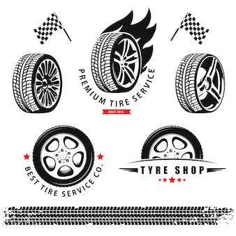 Set of wheels, tires and tracks