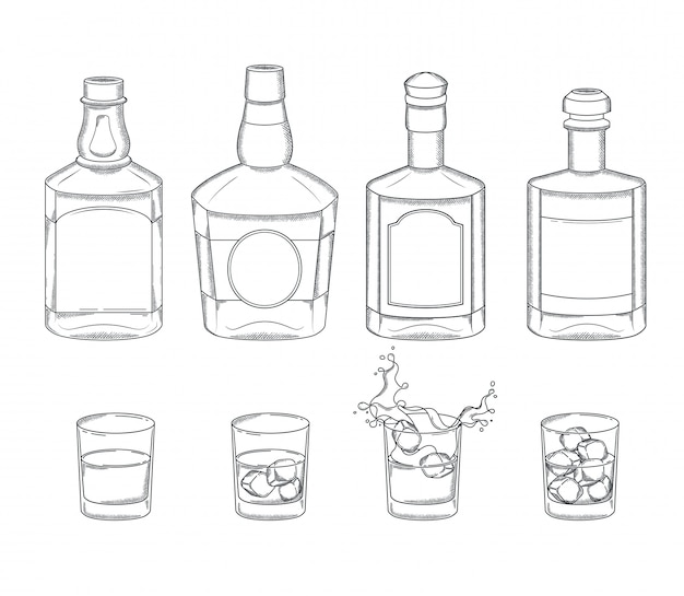Set of whiskey bottles and glasses with a drink and ice cubes. engraving vintage alcoholic bar menu elements.
