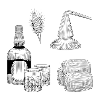 Set of whiskey production process in hand drawn style. bottle of whiskey, glass, barrel, wheat, distillation.