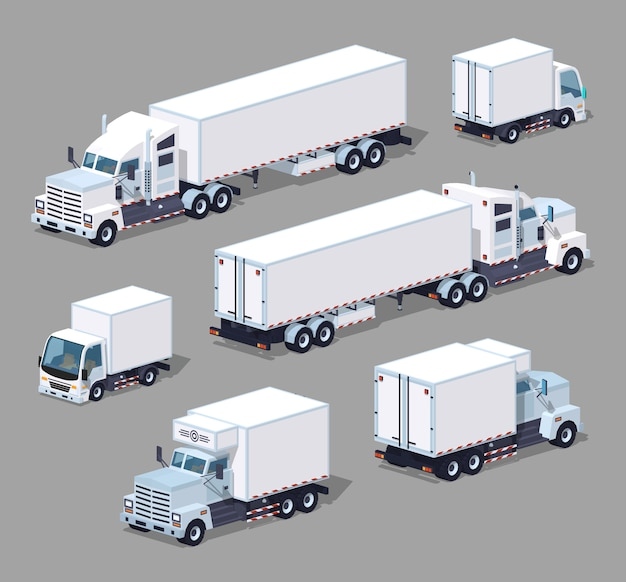 Set of the white 3d lowpoly isometric trucks