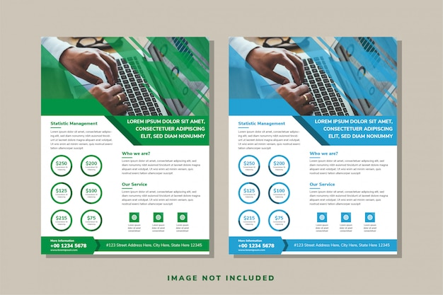 Set of white background of business brochure, leaflet, flyer, cover template. abstract blue and green diagonal lines element designs. rectangle shape that space for photo. Premium Vector
