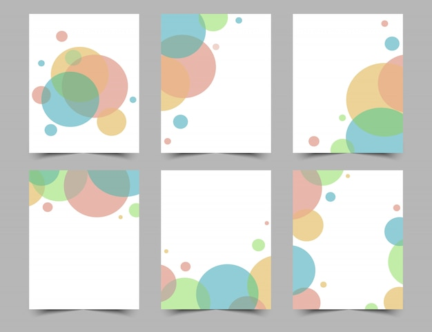 Set of white backgrounds or cards with colorful circles