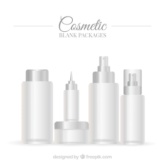 Set of white beauty product packaging