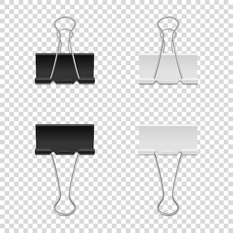 Set of white and black binder clips isolated