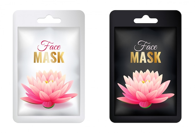 Set of white and black cosmetic facial mask package mock up, realistic individual sachet package with pink lotus, isolated on white background vector illustration
